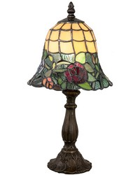 Walcott Rose Tiffany Accent Lamp Antique Brass by