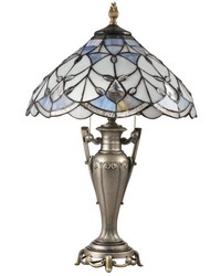 Peyton Jewel Tiffany Table Lamp Antique Golden Silver by