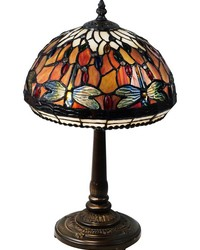 Tavis Dragonfly Tiffany Table Lamp Antique Bronze by