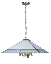 Leonetto 5-Light Fused Glass Hanging Fixture Brushed Nickel by