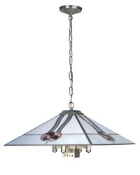 Mack Rose 5-Light Tiffany Hanging Fixture Brushed Nickel by