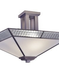 Leonetto Fused Glass Semi Flush Mount Brushed Nickel by