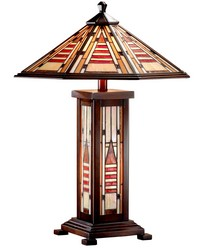 Woodruff Mission Tiffany Table Lamp with Night Light Antique Bronze by