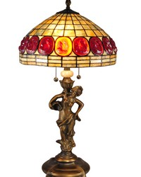 Turtleback Rose Tiffany Table Lamp Antique Brass by