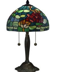 Jocelyn Rose Tiffany Table Lamp Antique Bronze Verde by