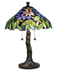 Floral Blossom Tiffany Table Lamp Antique Bronze by