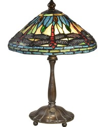 Deniz Dragonfly Brass Tiffany Table Lamp Antique Bronze Verde by