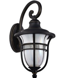 Kenya Outdoor Tiffany Wall Sconce Golden Black by