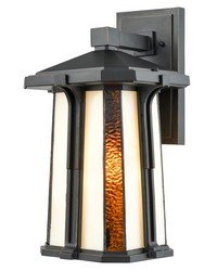 Fleetwood Outdoor Tiffany Wall Sconce Golden Black by