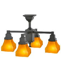 Bungalow Frosted Amber 4 LT Chandelier 108063 by
