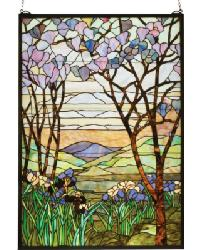 Tiffany Magnolia  Iris Stained Glass Window by