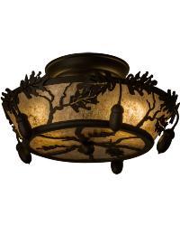 Oak Leaf  Acorn Flushmount by