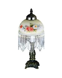 Rose Bouquet Fringed Mini Lamp by