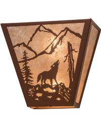 Northwoods Wolf on the Loose Wall Sconce 23948 by