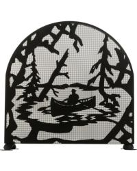 Canoe At Lake Arched Fireplace Screen 28741 by