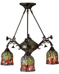 Red Rosebud 3 Arm Chandelier by