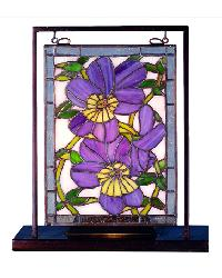 Pansies Lighted Mini Tabletop Window 68409 by