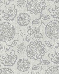 White Jacobean Floral Fabric  Twiggy Cloud