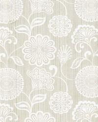 Beige Jacobean Floral Fabric  Twiggy Oatmeal