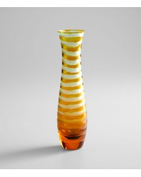 Med Blue Orange Stripe Vase 00074 by