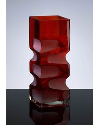 Small Ruby Etched Vase 01823 by