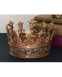 Ital Gold Crown W clr Stones and  Stars by