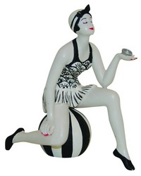 Small French Cream Black Bather On Ball by