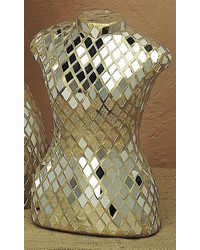 Small Mirrored Mosaic Dressform W Gold by