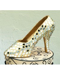 Small Gold Mirror Mosaic Shoe by