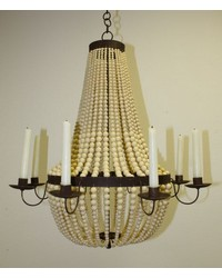8 Light Swagged Bead Chandelier by