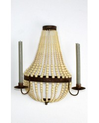 Small Two Candle Beaded Iron Sconce by