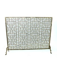 Lt Bur Gold Geometric Fire Screen by