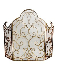 Lt Burn Gold Mesh Scroll Fire Screen by