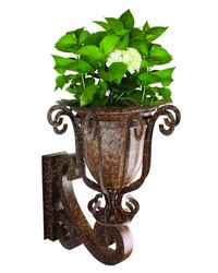 Brown Taupe Wall Bracket and  Planter by