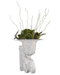 Beca Ant Wht Leaf Wall Planter by