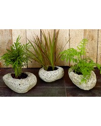 Set of 3 Asstd. Volcanic Rock Planters by