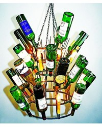Steel Finish Wine Rack Chandelier by