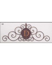 Rustic Brown Gold Scroll Monogram Gril by