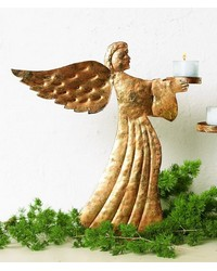 Italian Gold Large Angel Votive Holder by