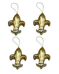 Set of 4 Small Pm Fleur De Lis Ornaments by