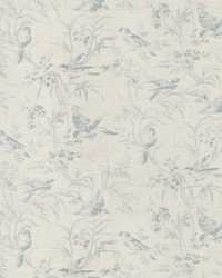 Blue French Country Toile Fabric  Aviary Toile Chambray