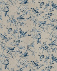 French Country Toile Fabric  Aviary Toile Vintage Bleu