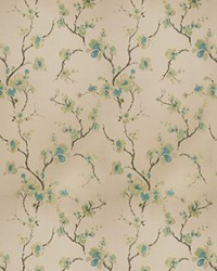 Green Oriental Fabric  Shiner Orchid Teal