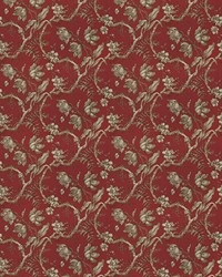 Red French Country Toile Fabric  Uttapam Crimson