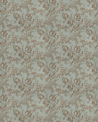 Blue French Country Toile Fabric  Uttapam Aqua
