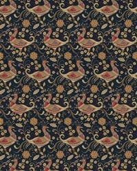 Blue Oriental Fabric  Aplomb Peacock Navy