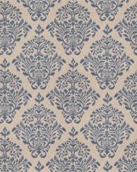 Blue Vignettes Vol XIV Fabric Fabricut Fabrics Tact Damask Denim