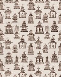 Oriental Fabric  Bezique Pagoda Teak