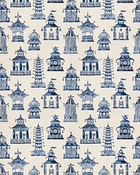 Blue Oriental Fabric  Bezique Pagoda Royal Blue
