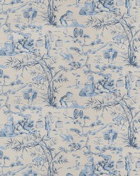 Blue Oriental Fabric  Blitz Toile Indigo